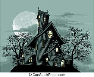 鬼, 房子, 場景, 蠕動, 縈繞心頭, 插圖