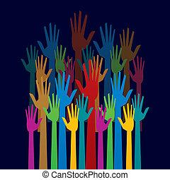 鮮艷, 向上, 民主, 手, 概念