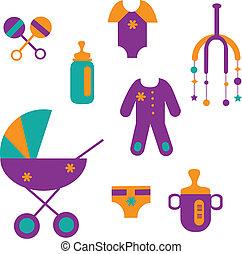 鮮艷, 嬰孩, 玩具, 集合, 衣服