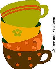 鮮艷, 插圖, 杯子, 矢量, 四