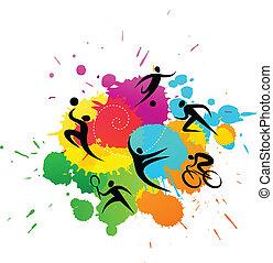 鮮艷, -, 插圖, 矢量, 背景, 運動