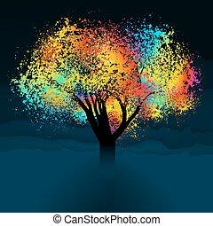 鮮艷, 摘要, eps, space., 樹。, 8, 模仿