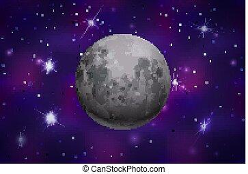 鮮艷, 現實, 背景, 月亮, 深, 空間, 星, 明亮