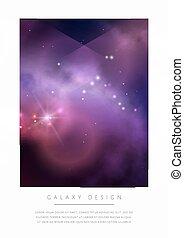 鮮艷, 空間, 星云, stars., 明亮, 矢量, 設計, 紫色, 卡片