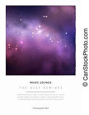 鮮艷, 空間, 紫色, 星云, stars., 明亮, 矢量, 設計, 卡片