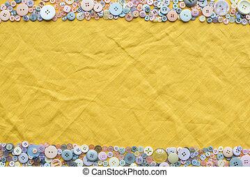 鮮艷, 空間, 頂部, 黃色, 按鈕, 布, 背景, 模仿, 框架, 看法