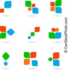 鮮艷, 符號, 插圖, 集合, 矢量, 六