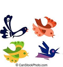 鮮艷, 鳥, 插圖, 被隔离, 集合, 對象, 矢量