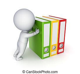 鮮艷, folders., 推, 人, 3d, 小