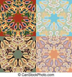 鮮艷, patterns., 摘要, seamless, 植物, 集合