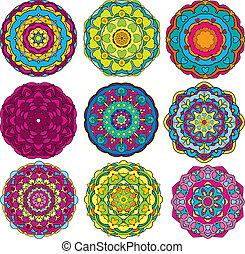 鮮艷, patterns., 裝飾品, 植物, 集合, 萬花筒, 9, 輪
