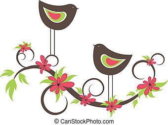鳥, 二, 矢量, love.