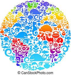 鳥, 做, 動物, outline, 圖象, 全球, 花