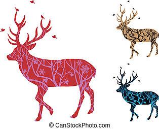 鳥, 矢量, 鹿, 聖誕節