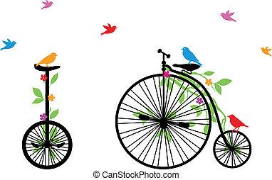 鳥, 自行車, 矢量, retro