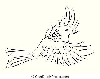 鴿, 白色, 飛行, 黑色, 插圖