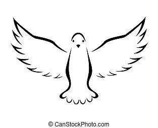 鴿, 飛行, 矢量, 插圖