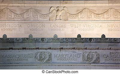 鷹, 林肯, 華盛頓, 向上, dc, 紀念館, 細節, 關閉, 大理石