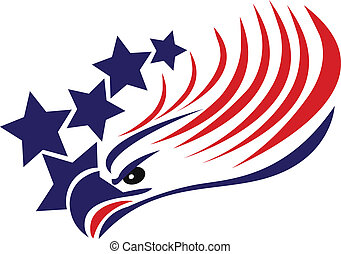 鷹, 美國人, 禿頭, 旗, 標識語