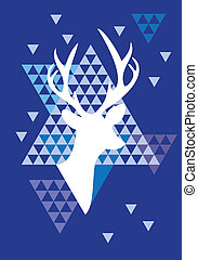 鹿, 三角形, 聖誕節, 圖案