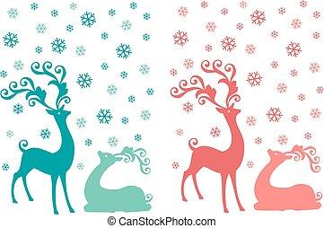 鹿, 矢量, 集合, 聖誕節
