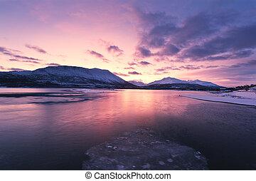 黃昏, 福特, 顏色, 上面, beautifully, 挪威
