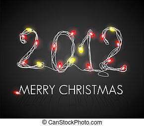 黃色的燈, 矢量, 背景, 聖誕節, 紅色