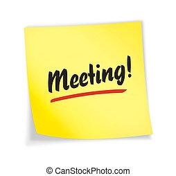 """黃色, """"meeting"""", 筆記, 黏性"""