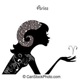 黃道帶, 時裝, 女孩, aries., 簽署