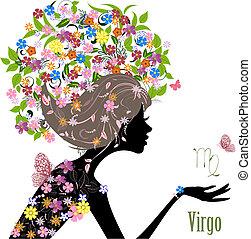 黃道帶, 時裝, 簽署, 女孩, virgo.