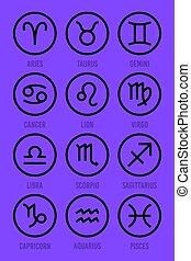 黃道帶, 矢量, 集合, 圖象, 占星術, signs.