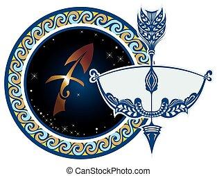 黃道帶, -, sagittarius, 簽署