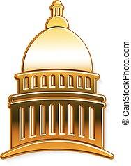 黃金, 圖表, 州議會大廈, 矢量, 設計, logo.