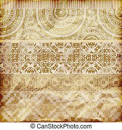 黃金, 矢量, 紙, 邊境, 植物, 結構, 弄皺, seamless, 箔