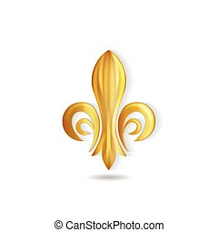 黃金, 矢量, 象征, fleur, de, 標識語, lis
