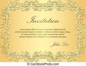 黃金, 葡萄酒, 圖案, 豪華, 邀請, 植物