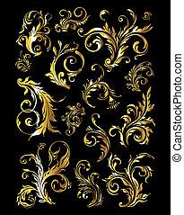 黃金, 集合, 葡萄酒, 裝飾品, 裝飾, 元素, 植物