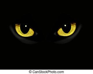 黑暗, 夜晚, 貓, 眼睛