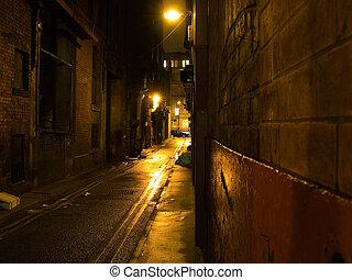 黑暗, 嵌接, 小街, 夜晚