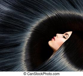 黑發淺黑膚色女子, 婦女, 美麗, 黑色, hair., 健康, 長