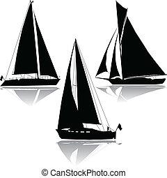 黑色半面畫像, 三, 航行, 游艇