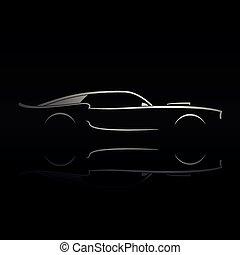 黑色半面畫像, 反映。, 汽車, 黑色的背景, 肌肉