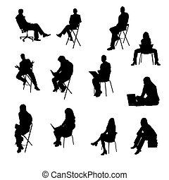 黑色半面畫像, 坐, 商業界人士