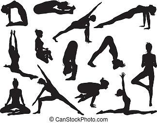 黑色半面畫像, 姿態, 瑜伽, 婦女