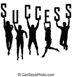 黑色半面畫像, 概念, 年輕, 成功, 隊
