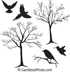 黑色半面畫像, 樹2, 鳥, 矢量