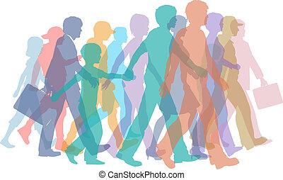 黑色半面畫像, 步行, 人群, 鮮艷, 人們