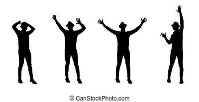 黑色半面畫像, 矢量, 人, 跳舞