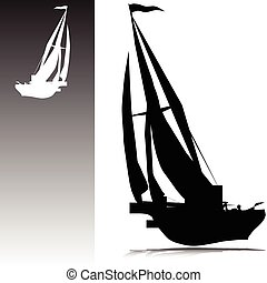 黑色半面畫像, 矢量, 帆船
