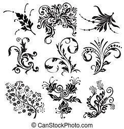 黑色半面畫像, 矢量, 裝飾品, 花
